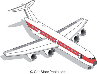 Isometric white airplane with red stripe in two position...