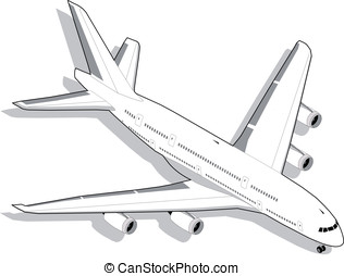 Isometric white airplane in two position This illustration...