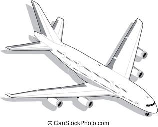 Isométrico, blanco, avión