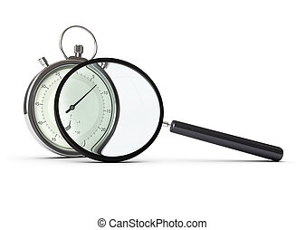 stopwatch and magnifying glass over white background,...