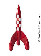 rocket - red white squaes rocket