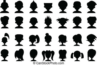 Cartoon Head Silhouettes - Set of cartoon head silhouettes,...