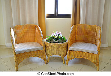 rattan chair - Wicker furniture , rattan chair in the room ....