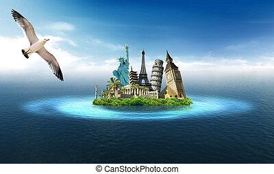Tourism around the world - Travel around the world: seagull...