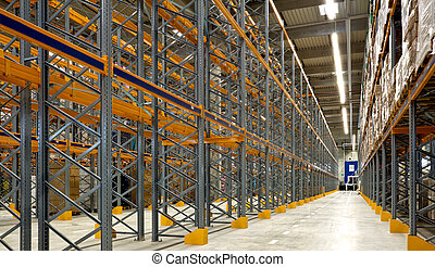 Large industrial warehouse - Inside view of large industrial...
