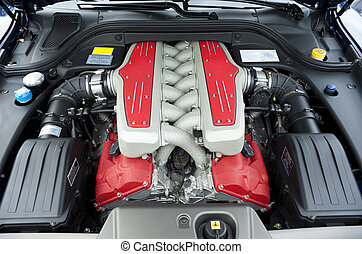 Car engine - Car 12 cylinder engine in an Italian sportscar