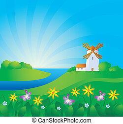 Rural background - Rural landscape with windwill and ears