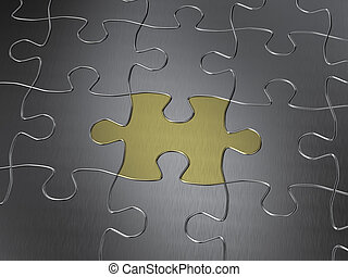 gold puzzle piece in a chrome jigsaw puzzle