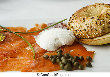 Breakfast Platter of Smoked Salmon and Everything Bagel - A...
