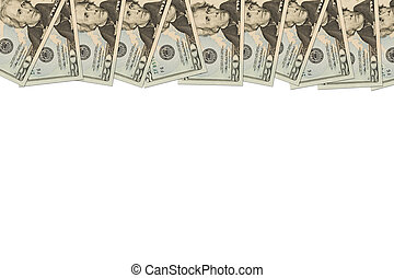Money Border of twenty dollar bills - A border of American...