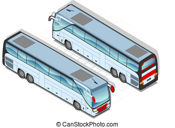 Isometric bus in two position - Detailed illustration of a...