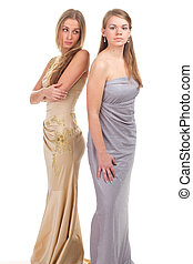 Hall envious friends - two girls in dresses with gold and...