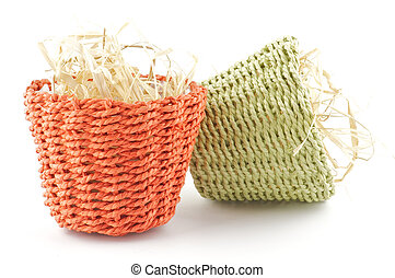 Two little flower pots - Green and red little wicker flower...