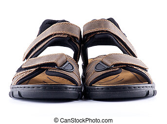 Brown mans Shoes Sandals with Velcro fastener isolated on...