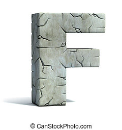 letter F cracked stone