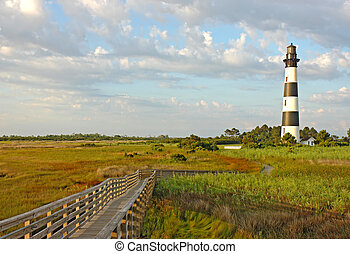 Walkway leading to the Bodie Island lighthouse over marshes...