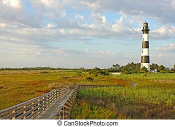 a, bodie, ilha, farol, exterior, bancos, norte, Carolina