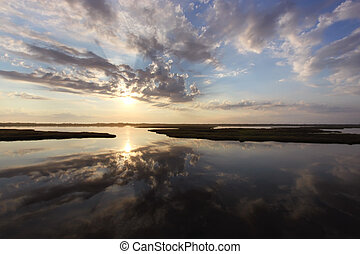 amanhecer, sobre, pântanos, bodie, ilha, norte,...