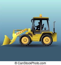 yellow bulldozer in side view - detailed illustration of a...