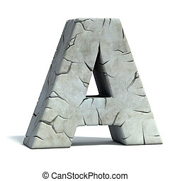 letter A cracked stone
