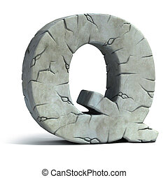 letter Q cracked stone
