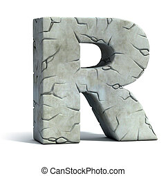 letter R cracked stone 3d font