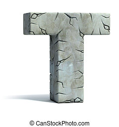 letter T cracked stone