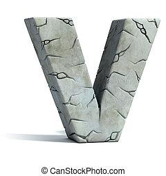 letter V cracked stone