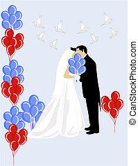 Kissing the shy bride