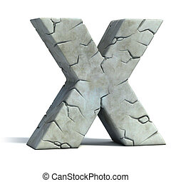 letter X cracked stone