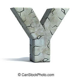 letter Y cracked stone