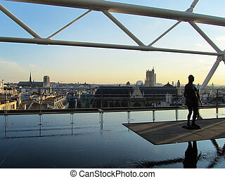 Paris from Pompidou center at the sunset - Panoramic...