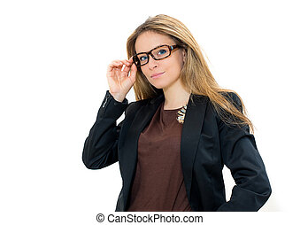 woman in glasses - portrait of beautiful woman in glasses