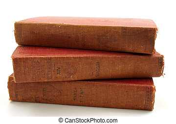 A group of old books - Three old books isolated on a white...
