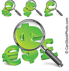 Magnifying glass & money symbol