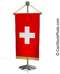 Switzerland table flag isolated on white