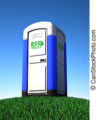portable toilet on grass 3d illustration