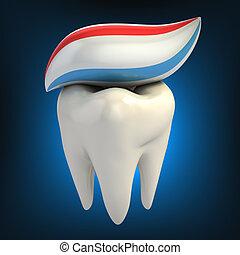 dentaire, soin, -, dentifrice, dent