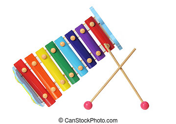 Xylophone on White Background