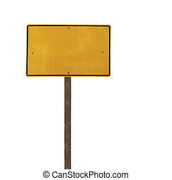 Tall Isolated Yellow Road Sign on a Wood Post - Tall blank...