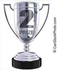 second prize 3d trophy illustration