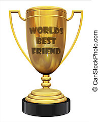 best friend trophy 3d illustration