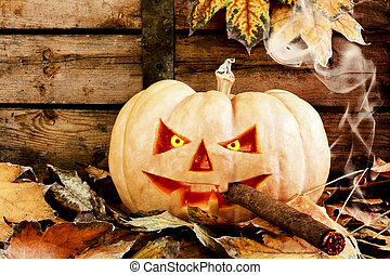 Halloween creepy pumpkin smoking cigar - Creepy carved...
