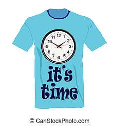 t-shirt in blue color with clock illustration on white