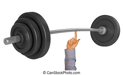 lifting weight with one finger 3d illustration