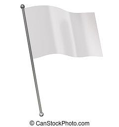 white flag isolated 3d illustration