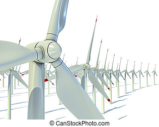Wind power farm against white background - Power generation...
