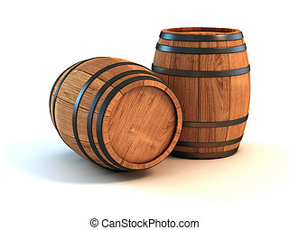 two wine barrels isolated on the white background 3d...