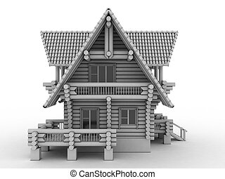 log house on white