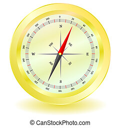 compass in gold color vector illustration